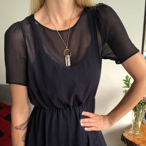 3/4 length navy blue sheer dress with liner